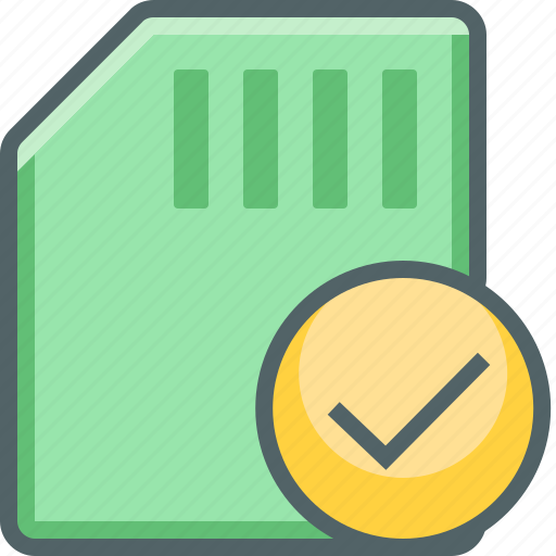 accept, card, check, mark, memory, storage icon