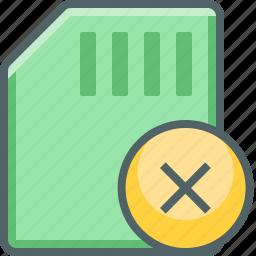 cancle, card, close, delete, memory, remove, storage icon