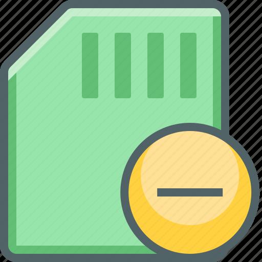 card, delete, memory, minus, remove, sd, storage icon