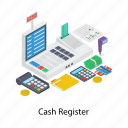 cash register, cash till, electronic device, shopping till, invoice icon