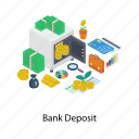 bank deposit, bank vault, cash locker, financial locker, money locker icon