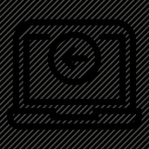 Computer, desktop, laptop, monitorarrowleft icon - Download on Iconfinder