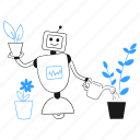 ecofriendly, tech, robot, assistant, water, can, plant icon