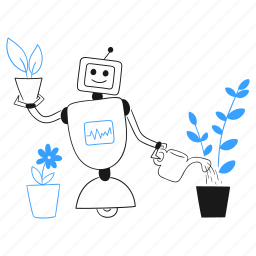 ecofriendly, tech, robot, assistant, water, can, plant