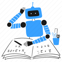 machine, learning, technology, workbook, math, equations, robot