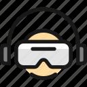 vr, user, headphones