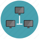 computer, monitor, network, sharing icon