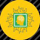 brain, chip, concept, design, modern, processor, technology icon