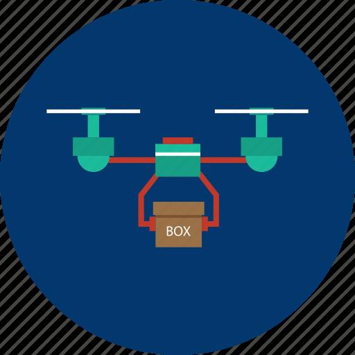 box, design, drone, mini plane, modern, object, technology icon