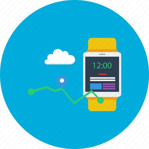 cloud, design, maps, modern, smartwatch, technology, time icon