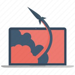 computer, laptop, launch, monitor, rocket, screen, technology icon