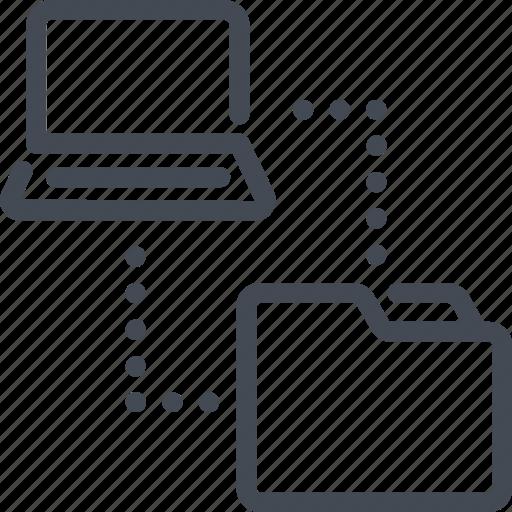 copy, file, folder, laptop, sync, syncronization, technology icon