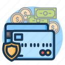 card, credit, finance, money, protection, secure, security icon