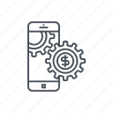 cellphone, cogwheel, development, gear, mobile phone, smartphone icon