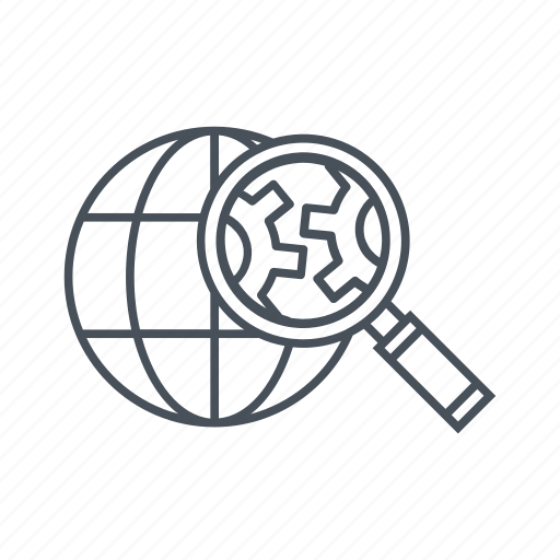 cogs, commerce, gears, internet, magnifying, search engine, seo icon icon