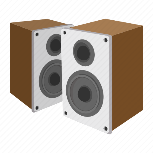 acoustic, body, cartoon, sound, speaker, system, wooden icon