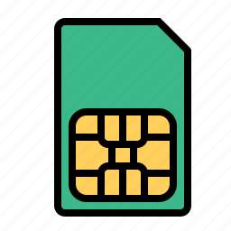 card, chip, mobile, number, phone, sim, technology icon