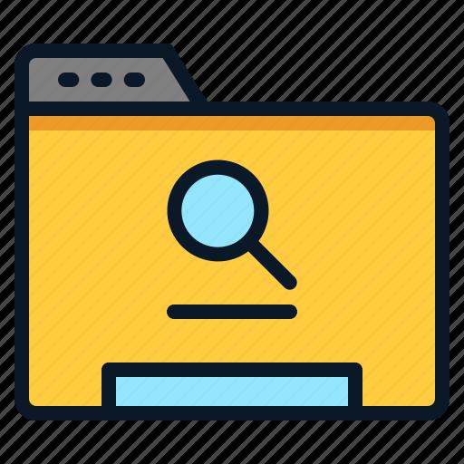 data, file, folder, search icon