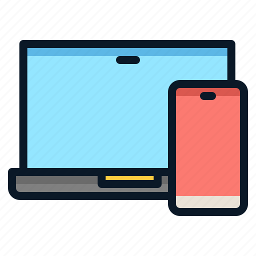 connect, laptop, link, phone, technology icon