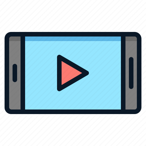 Movie, technology, smartphone, video, clip icon