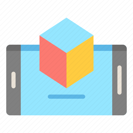 3d, augmented, reality, samartphone icon