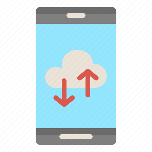 backup, cloud, mobile, phone, technology icon
