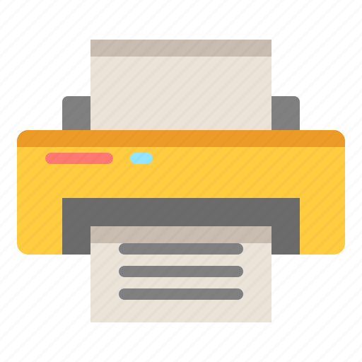 document, ink, paper, printer icon