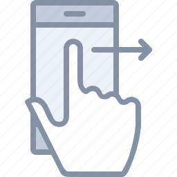 action, gesture, mobile, phone, right, swipe, technology icon