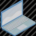 internet, isometric, laptop, technology, work