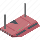 internet, isometric, router, signal, technology icon
