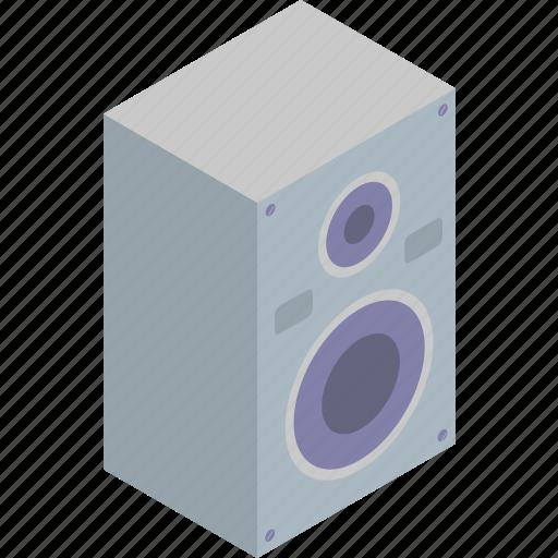 isometric, music, speaker, technology icon