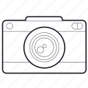 camera, capture, device, lens, lineart, photography, tech, technology icon