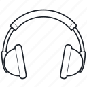 audio, device, headgear, headphone, lineart, sound, tech, technology icon