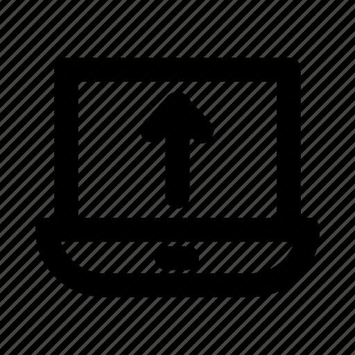 arrow, device, gadget, laptop, notebook icon
