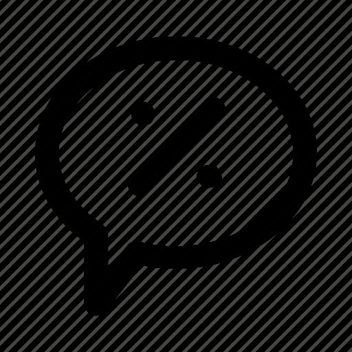 bubble, discount, message, notification, percentage icon
