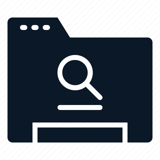 Folder, data, search, file icon