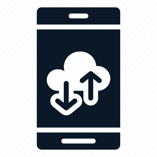Mobile, phone, technology, backup, cloud icon