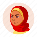 arab, avatar, emotion, expression, girl, teen, university icon