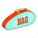 bag, cartoon, sign, store, straps, tennis, wear icon