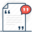 quotation marks, speech quotes, quotes, paragraph, speech, inverted commas, document icon