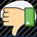 dislike, down, emotion, negative impact, social dislike, thumbs, thumbs down icon