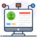 biodata, experience, online user, profile, user, user experience, user information icon