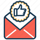 audit, business strategy, in process approval, like, mail, success icon