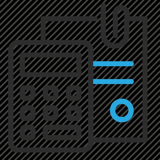 calculator, paper, paperclip icon