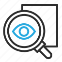 document, find, locate, look, zoom icon