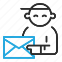 email, news, person icon
