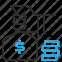 bag, hand, holding, money icon