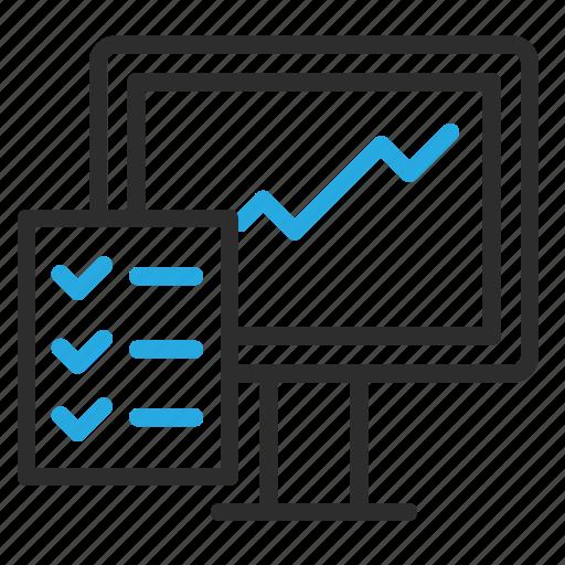checklist, desktop, growth, monitor, pc icon