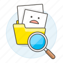 doc, emoji, explorer, finder, folder, folders, found, frowning, magnifier, office, scan, search, smiley, text