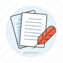 writing, texting, text, sheet, quill, doc, feather, papers icon
